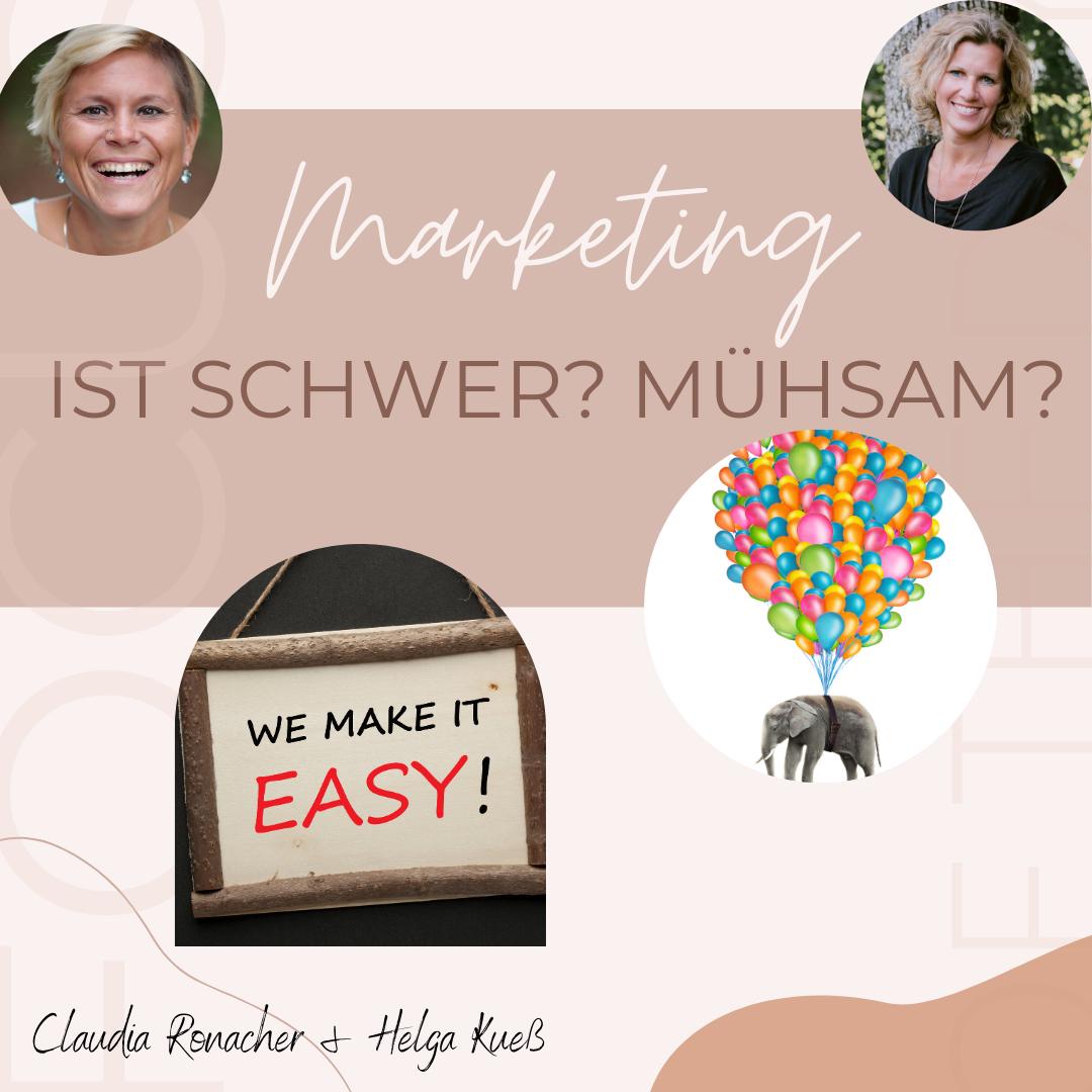 Zwei Bilder sollen zeigen, dass Marketing auch leicht sein kann. Elefant der an Luftballonen hängt und fliegt